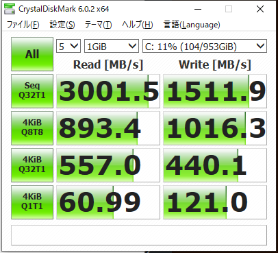 CrystalDiskMark: デスクトップ Ryzen3700X / インテル 760p 1TB(760p SSDPEKKW010T8X1)