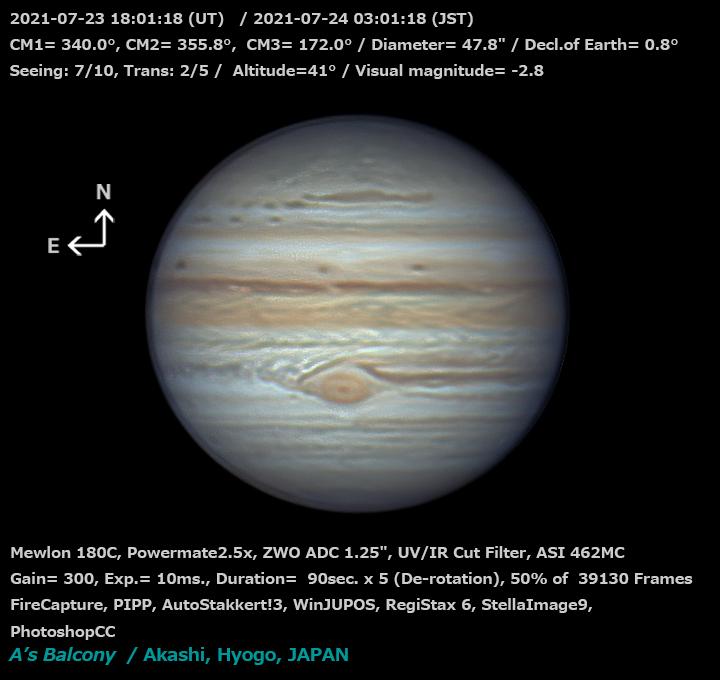 木星 2021/7/24 3:01 (JST)