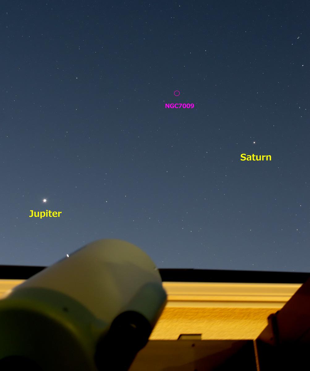 2021/8/5 木星・土星・土星状星雲(NGC7009)/Pentax KP + 50mm + アストロトレーサー・トリミング有り