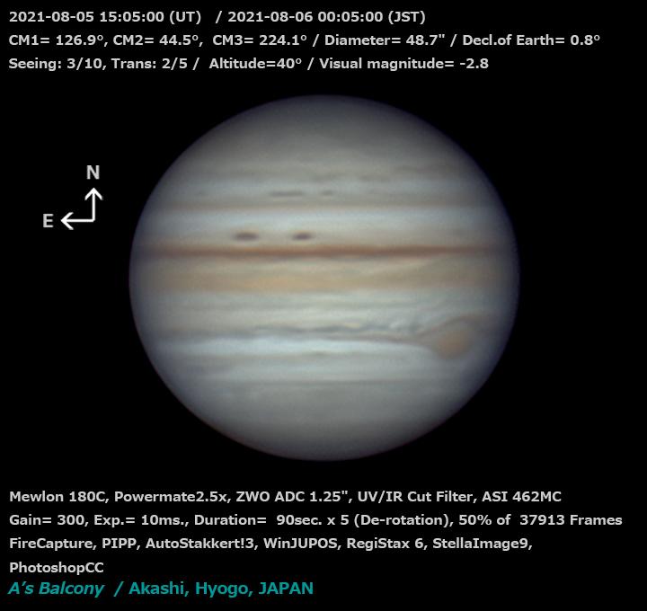 木星 2021/8/6 0:05 (JST)