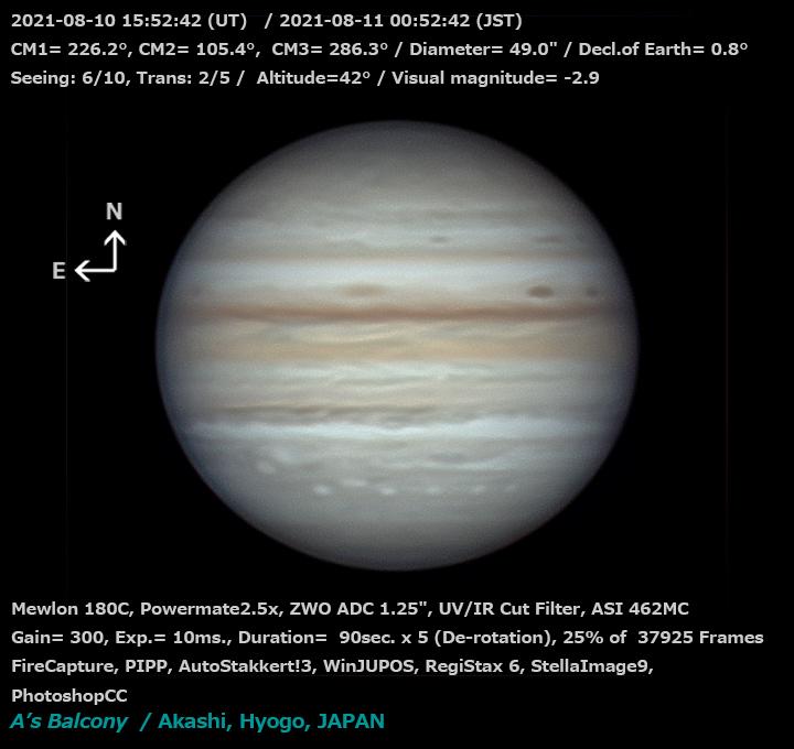 木星 2021/8/11 00:52 (JST)