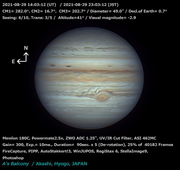 木星 2021/8/29 23:03 (JST)