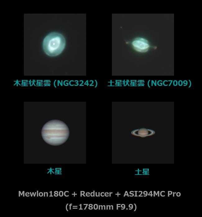 土星状星雲・木星状星雲、土星・木星の同倍率比較