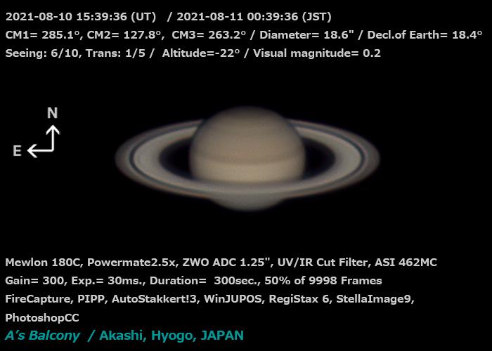 土星 2021/8/11 00:39 (JST)