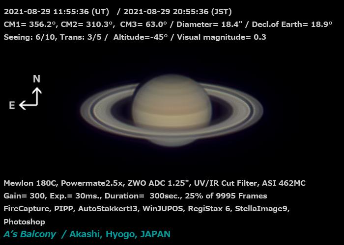 土星 2021/8/29 20:55 (JST)