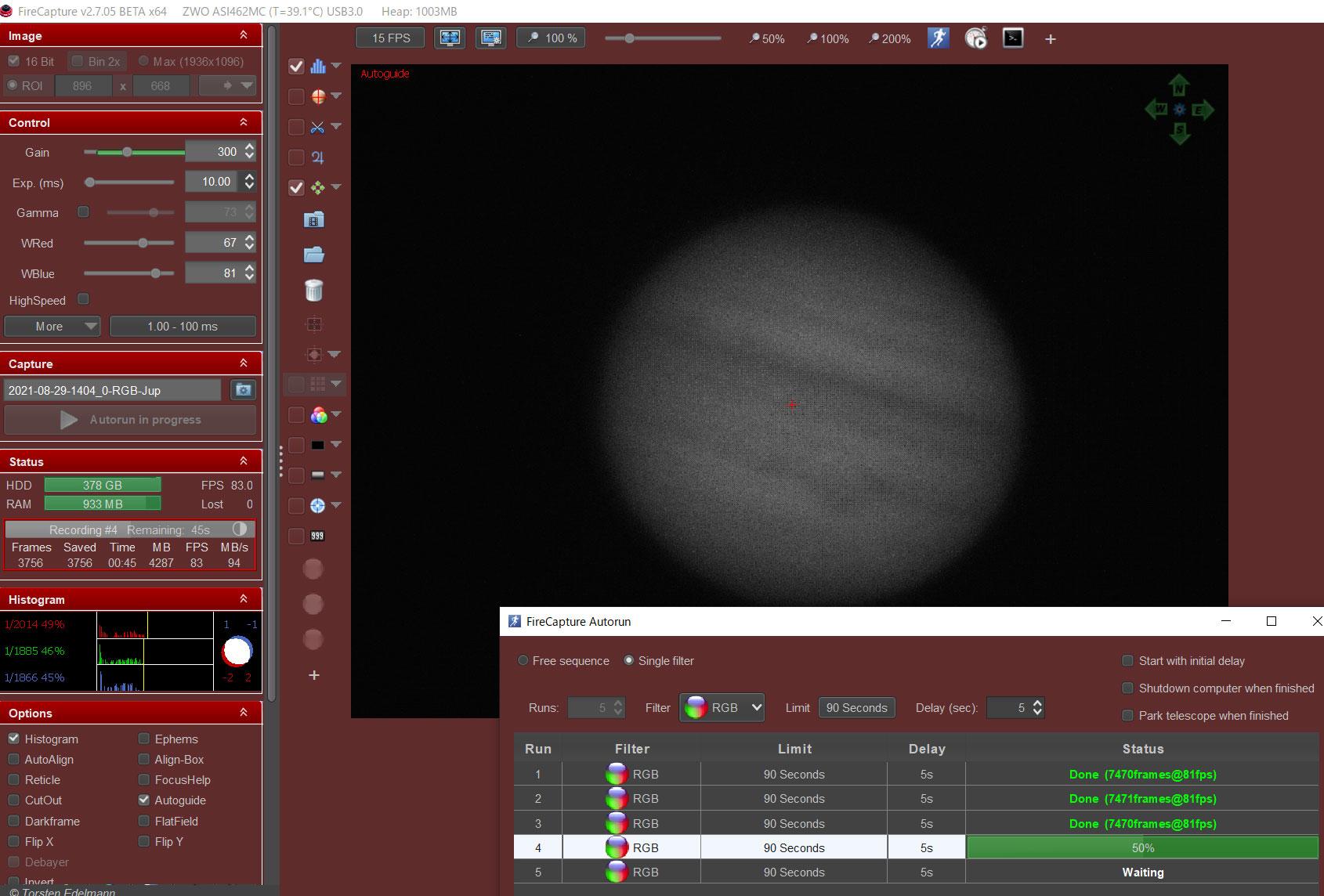 FireCapture オードガイド・木星の連続撮影の例