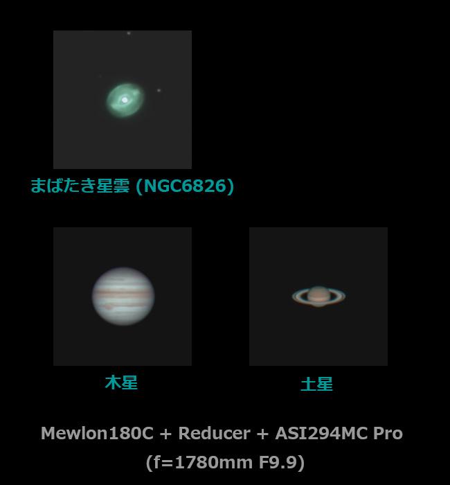 NGC6826(まばたき星雲)と衝近くの木星・土星の視直径比較