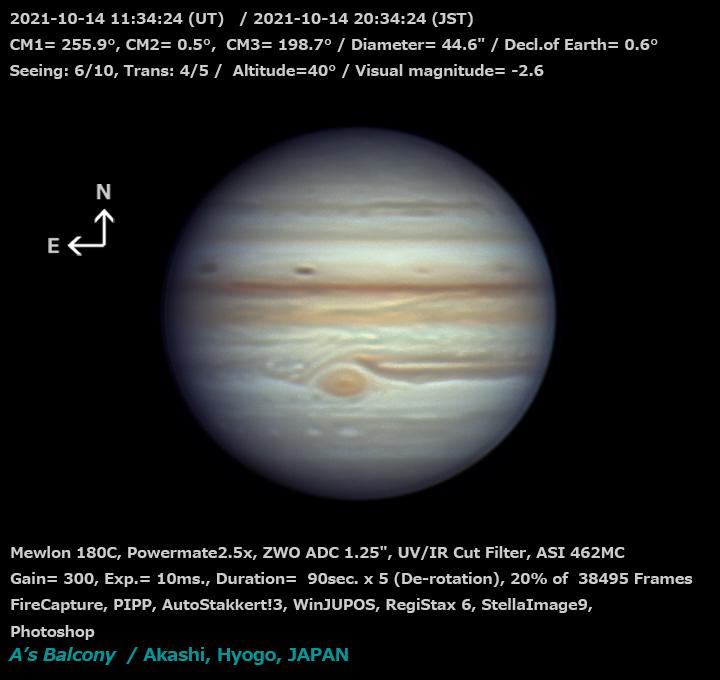 木星 2021/10/14 20:34(JST)